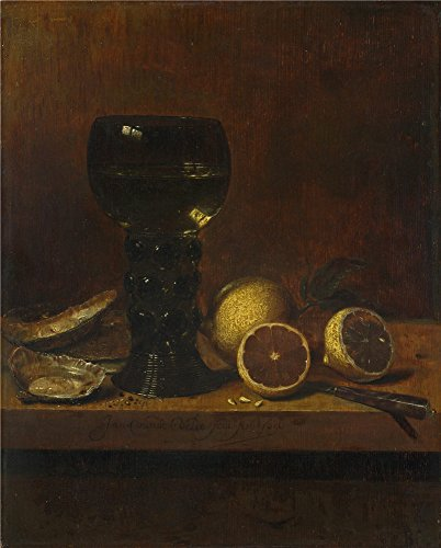 Oil Painting 'Jan Van De Velde Still Life A Goblet Of Wine Oysters And Lemons ' Printing On Polyster Canvas , 8 X 10 Inch / 20 X 25 Cm (Art Projects For 5th Graders Halloween)