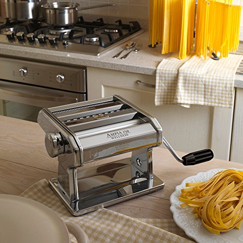 Marcato 8356 Atlas Ampia Pasta Machine, Made In Italy, Chrome Plated Steel, Silver, Includes Pasta Cutter, Hand Crank, & Instructions