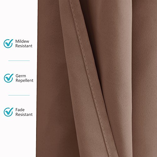 RYB HOME Outdoor Curtains for Porch - Blackout Exterior Shades for Front Gazebo Stain Repellant Thermal Insulated Panel for Garden with Tab Top, Single Piece, Width 52 by Length 84 Inch, Mocha