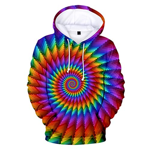 - GREFER Hoodies for Men Women - Unisex 3D Vortex Dizziness Print Sports Hooded - Autumn Plus Size Sweatshirts Outwear Colorful