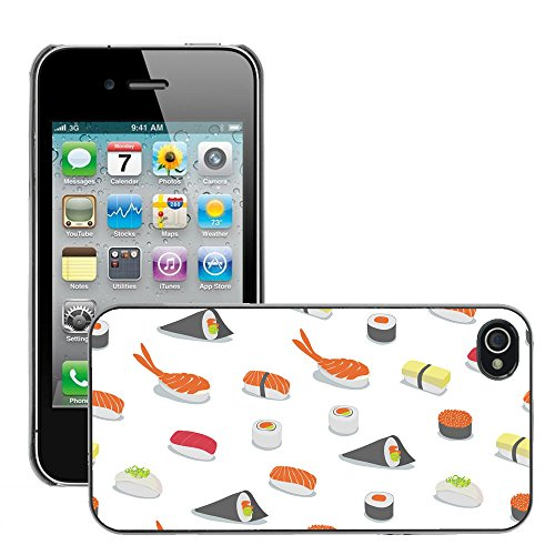 Premio Sottile Slim Cassa Custodia Case Cover Shell // V00002488 Motif Sushi // Apple iPhone 4 4S 4G