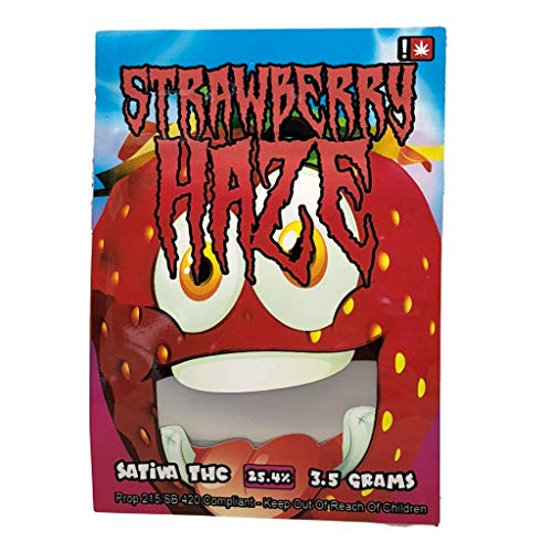 STRAWBERRY HAZE Stickers & Mylar Barrier Bag - 3.5 GRAM - Heat Sealable - (Zip Lock Canna Bags, Billy Kimber, Paris OG) (50) by BIGSMOKE (Image #3)