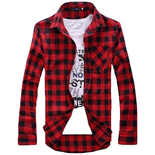 Men's Dress Button Down Buffalo Plaid Checked Long Sleeve Shirts Casual Classic Men's Checkered Plaid Long Sleeve Slim T Shirt Top