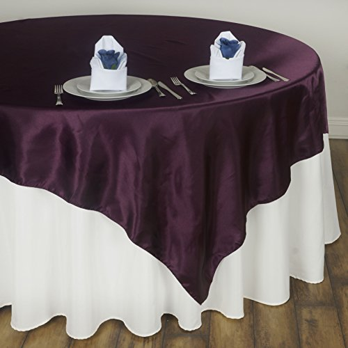 BalsaCircle 90x90-Inch Eggplant Purple Satin Table Overlays - Wedding Reception Party Catering Table Linens Decorations ()