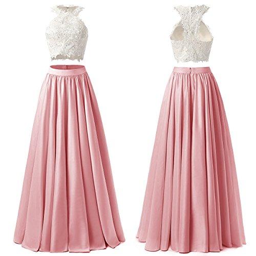 linie Edle Elegant Abendkleider Spitze LuckyShe Lang Ballkleid Damen A Hochzeit Weinrot Neckholder für 5XRUOXvn