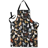 CARTOON DOG DESIGN APRON KITCHEN BBQ COOKING PAINTING MADE IN YORKSHIRE by L&S PRINTS