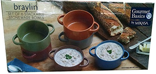 French Dinnerware Soup Bowl - Stackable Stoneware Bowls Gourmet Basics by Mikasa, Set of 6