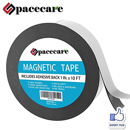 SPACECARE Magnetic Tape 1'' x 10 Feet Incredibly Strong & Flexible - Peel & Stick Adhesive Backing - Easy to Cut - Strong Magnet Flux by SPACECARE