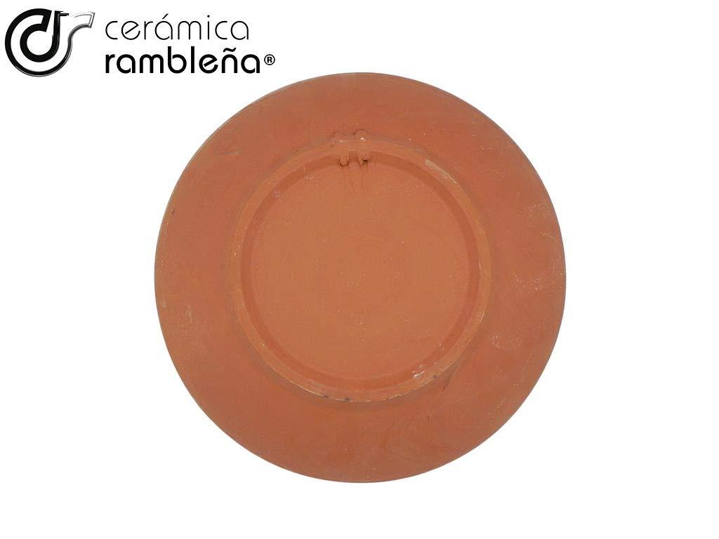 CER/ÁMICA RAMBLE/ÑA 27x27x4,5 cm Azul Plato de cer/ámica Plato Decorativo para Colgar en Pared 100/% Hecho a Mano
