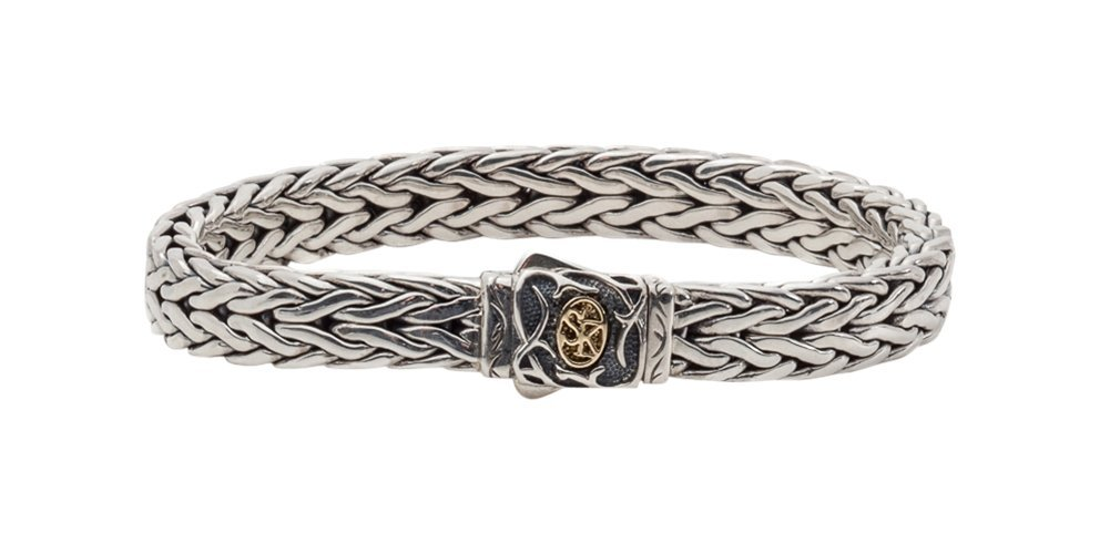 Scott Kay 9MM Straight Doberman Silver Bracelet with 18K Accent on Clasp, 8.5 Inches