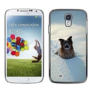 Be Good Phone Accessory // Dura Cáscara cubierta Protectora Caso Carcasa Funda de Protección para Samsung Galaxy S4 I9500 // Funny Winter Dog In Snow