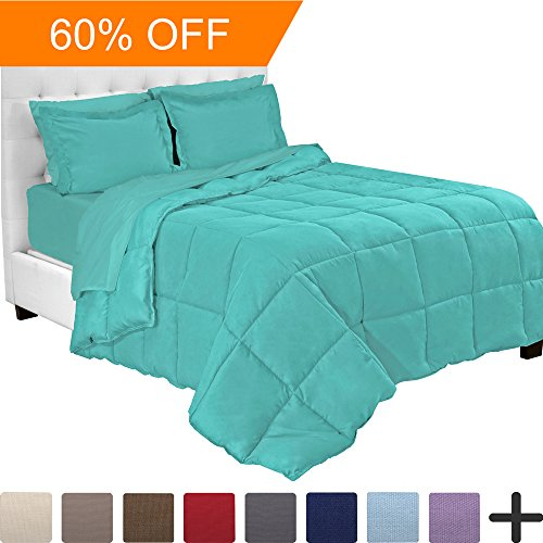 5 Piece Comforter - 5-Piece Bed-In-A-Bag - Twin (Comforter Set: Turquoise, Sheet Set: Turquoise)