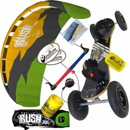 HQ Rush Pro V 300 3M Kite & Land Board Mountainboard Kiteboarding Bundle : (5 Items) Includes All Terrain Landboard + WB Decals + WindBone Key Chain + WB Koozie : Kite and ATB Mountainboard Package