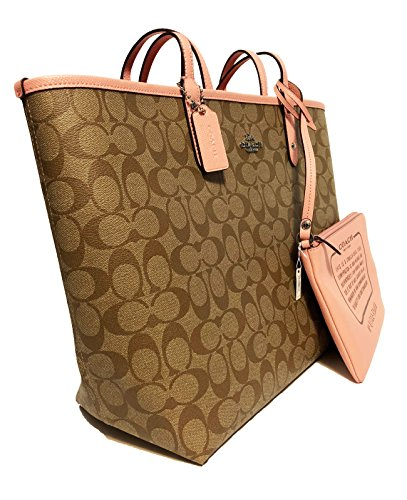F36609 Khaki Blush Tote Signature PVC Coach Reversible City TxwpHqTYd