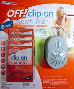 Off! Clip-on Mosquito Repellent with 4 Refills (Includes Batteries) Grey 2013 Model