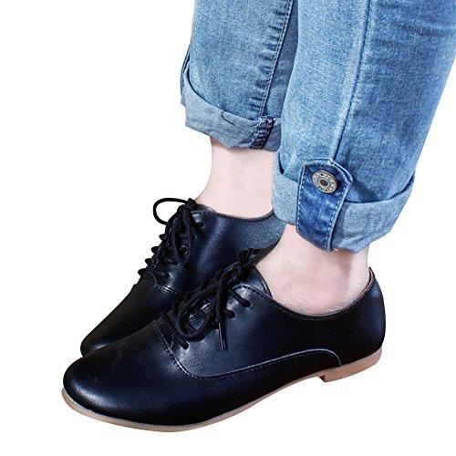 ... Jamron Mujer Suave Cuero Dedo Punteado Plano Oxfords Ligero Casual  Comodidad Encajes Zapatos Negro 99bd0e0cf62