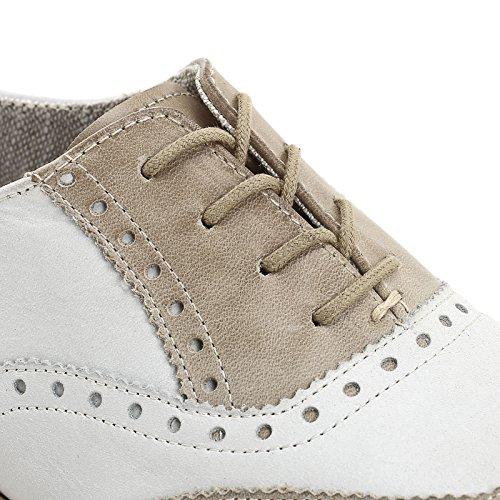 MARINA SEVAL by Scarpe&Scarpe - Zapatos acordonados bicolor, de Piel, con Tacones 2 cm MULTICOLOR (BEIGE/BIANCO)