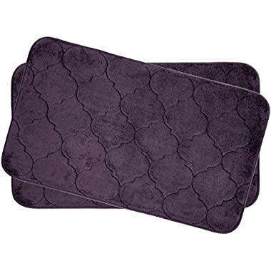 Bounce Comfort Faymore Extra Thick Premium Plush 2 Piece Memory Foam Bath Mat Set with BounceComfort Technology, 17  x 24  Plum