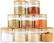 Glass Jars with Bamboo Lids EcoEvo, Glass Food Jars and Canisters Sets, 9 Pack of 16oz