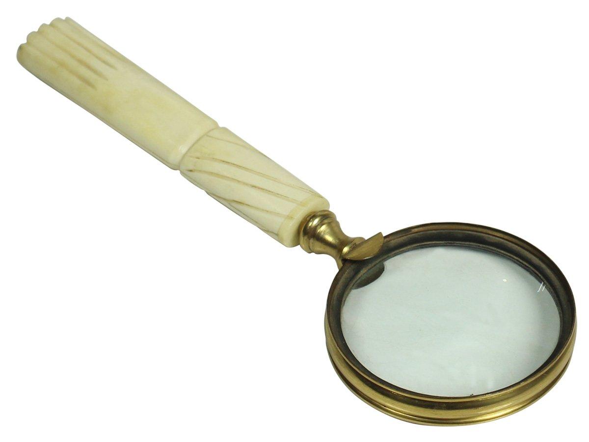 "SouvNear 8.5"" Magnifying Glass / Lens - Last Minute Deals - Handmade Natural Bone - Golden Color Metal Frame - Handheld Magnifier / Nautical Device / Vintage-Look Collectibles - Unique Gifts"