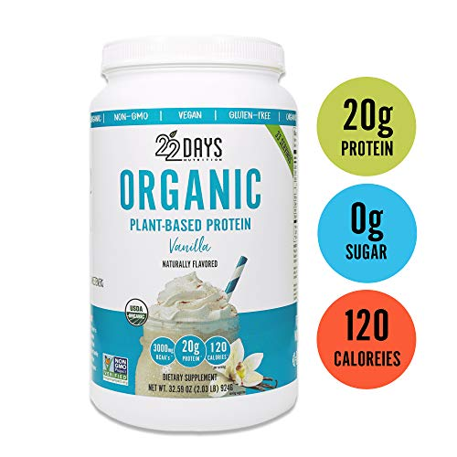 22 Days Nutrition Organic Protein Powder, Vanilla, 32.59 Ounce Gluten Free, Vegan- Pea, Flax, and Sacha Inchi- Plant Based Protein Powder 20g – No Added Sugar, Naturally Sweetened with Stevia
