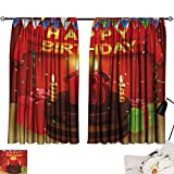 Jinguizi 16th Birthday Room/Bedroom, Party Celebration with Flag Ribbon and Yummy Chocolate Cake Candles Print Design Darkening Curtains Multicolor W108 x L72