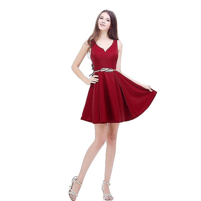 Xnaihuafei parte trasera abierta Ruche rojo corto cóctel fiesta Prom Vestido Rojo rosso 42