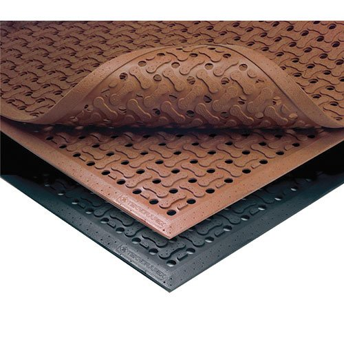 NoTrax T18 General Purpose Rubber Superflow Safety/Anti-Fatigue Mat, for Wet or Greasy Areas, 4' Width x 6' Length x 5/8'' Thickness, Black