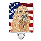 Caroline's Treasures Buff Cocker Spaniel with American Flag Night Light, 6'' x 4'', Multicolor