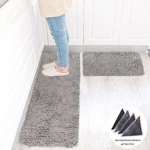 Wolala Home 2 pcs Sets Strong Absorbent Non-Slip Kitchen Rug and Carpet Super Soft Chenille Shaggy Latex Backing Solid Home Decorator Floor Mats (16''x24''+16''x47'' Gray)