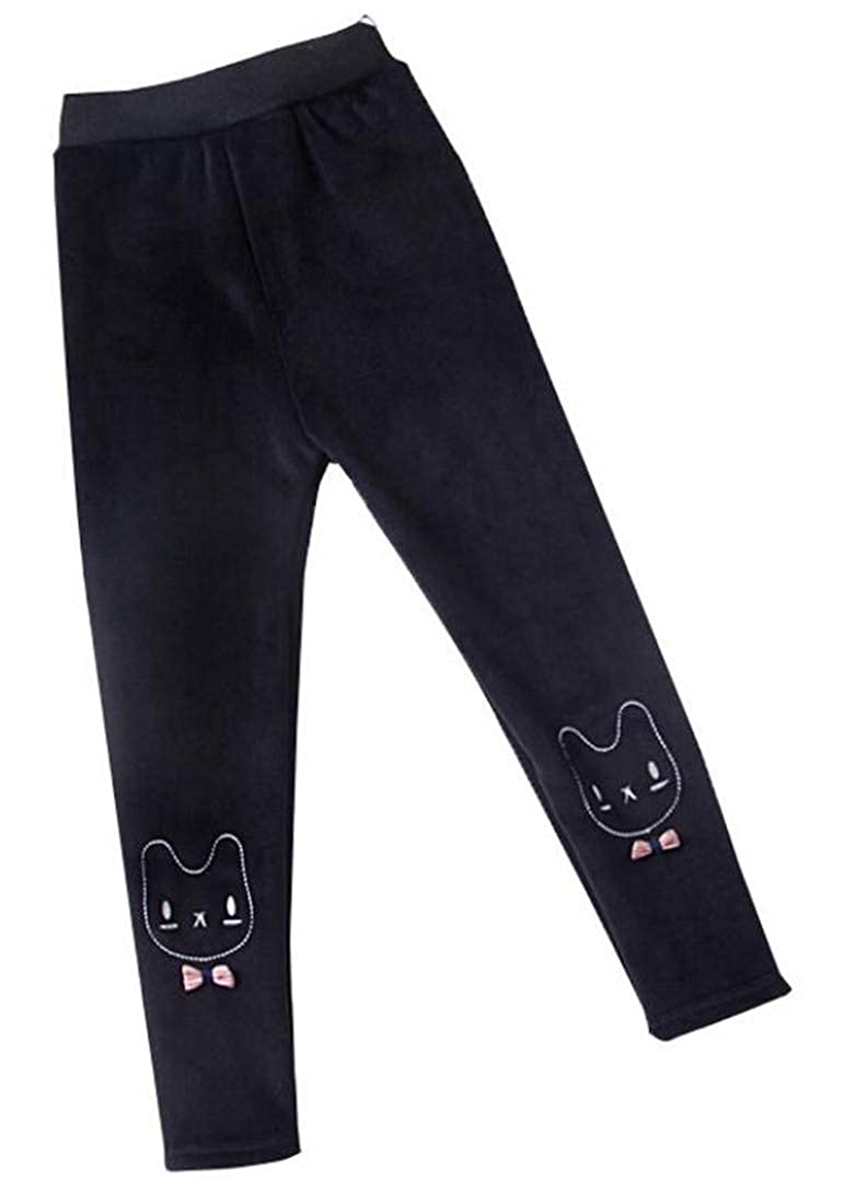 Cromoncent Girl Elastic Waist Thicken Wool Lined Tight Stretch Embroidery Leggings