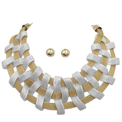 Braided Mesh Tube Chain Designer Look Statement Necklace & Earring Set (Silver Tone & Gold Tone Flat) ()