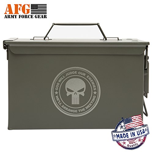 Army Force Gear New Metal Ammo Can With God Will Judge Our Enemies We'll Arrange The Meeting Skull laser Engraved 50 cal All-Metal Waterproof Hunting With Fishing ammo box, Made in USA