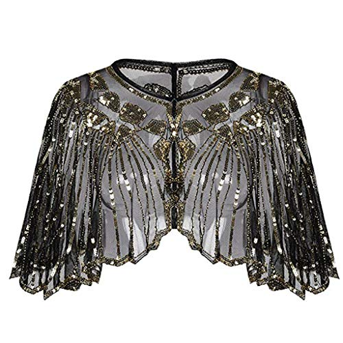 NUWFOR Women's 1920s Shawl Beaded Sequin Deco Evening Cape Bolero Flapper Cover up(Gold,Free) ()