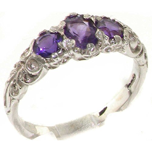 925 Sterling Silver Real Genuine Amethyst Womens Trilogy Ring - Size 11