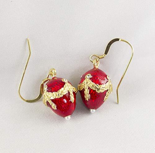 Red Earrings Sterling Silver Guilloche Enamel Faberge Style Jewelry for Women 24 K Gold Vermeil Small Egg-Shape Dangle Drop Earrings - Sterling Guilloche
