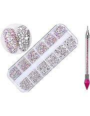 1440 Pcs Crystal Rhinestones Nail Art Gems and Rhinestones + 1 Pcs Rhinestone Picker Dotting Pen,for Nails/Clothes/Face/Craft (1440pcs/2color)