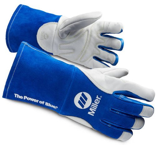 Welding Gloves, 3-D, M, 12In, Blue/White, PR by Miller Electric (Image #1)