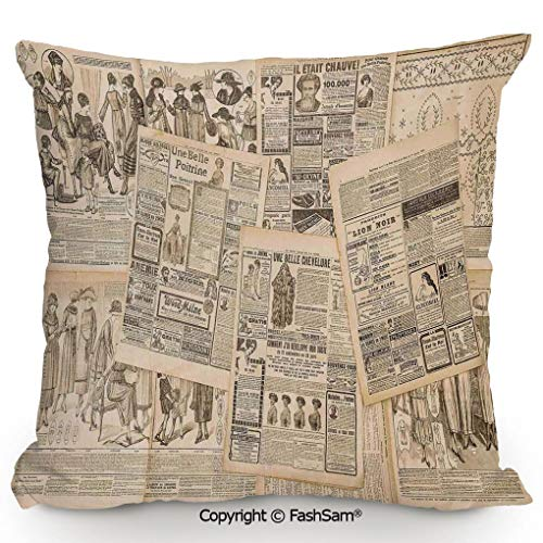 FashSam Polyester Throw Pillow Newspaper Pages with Advertising and Fashion Magazine for Woman Edwardian Publicity Image for Sofa Bedroom Car Decorate(20