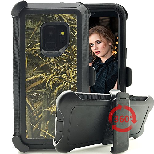 Galaxy S9 Plus Case,Kudex 4 in 1 Heavy Duty High Impact Defender Series Shockproof Rubber Protective Camo Hybrid Case Cover with Belt Clip Kickstand Holster for Samsung Galaxy S9 Plus (Wheat Black)