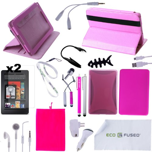 Accessory Combo for Kindle Fire / (Pink) Rotating Leather Case / (Pink) TPU Case / (Hot Pink) Silicone Case / 5 (Hot Pink and Silver) Stylus Pens / Earphones /Chargers / Screen Protectors / Reading Light for Kindle Fire - ECO-FUSED® Microfiber Cleaning Cloth and Free Lanyard Included - And MORE! (Pink)(does not fit Kindle Fire HD)