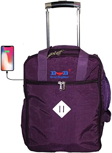 17 Rolling Personal Item Under Seat Duffel for Airlines of Spirit Frontier Jetblue AA Purple
