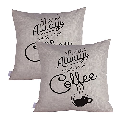 Queenie® - 2 Pcs All about Coffee Quotable Quotes Meaningful English Writing Decorative Pillowcase Thick Cotton Linen Cushion Cover 18 X 18 Inch 45 X 45 Cm (Always Time For ()