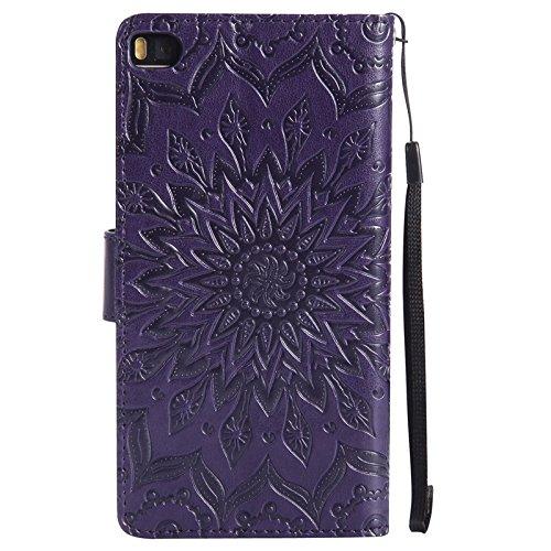 YAJIE-Carcasa Funda Para el caso Huawei P8, Sun Flower Printing Design PU cuero Flip Wallet Lanyard funda protectora con ranura para tarjeta / soporte ( Color : Pink ) Purple