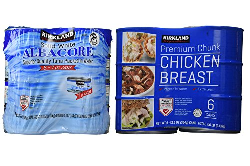 Kirkland Signature Solid White Albacore Tuna and Chicken Breast Bundle - Includes Kirkland Signature Solid White Albacore Tuna (3 LB 8 oz) and Premium Chunk Chicken Breast (4.6 LBs)