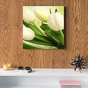 White Flowers MDF Wall Art 30x30 Centimeter