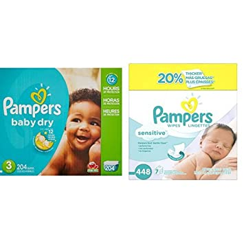 Amazon.com: Pampers Baby Dry Diapers Economy Pack Plus, Size 3 ...