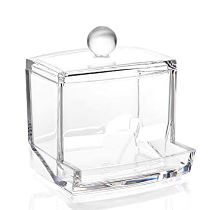 WYL Bastoncillo de algodón dispensador Titular-Farmacia acrílico encimera Caja de Almacenamiento Caja Tarro palillo