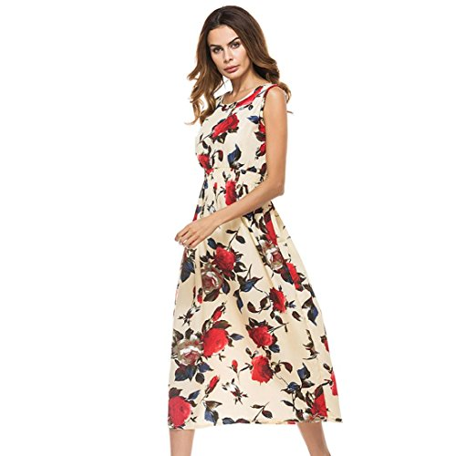 Tootu Sexy Women Long Bohemia Sleeveless Floral Print Beach Party Casual Dress (L, B)