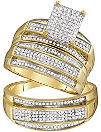 10kt Yellow Gold His & Hers Round Diamond Rectangle Cluster Matching Bridal Wedding Ring Band Set 3/4 Cttw